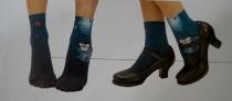 Socquettes fines imprimés O bleu Lili Gambettes
