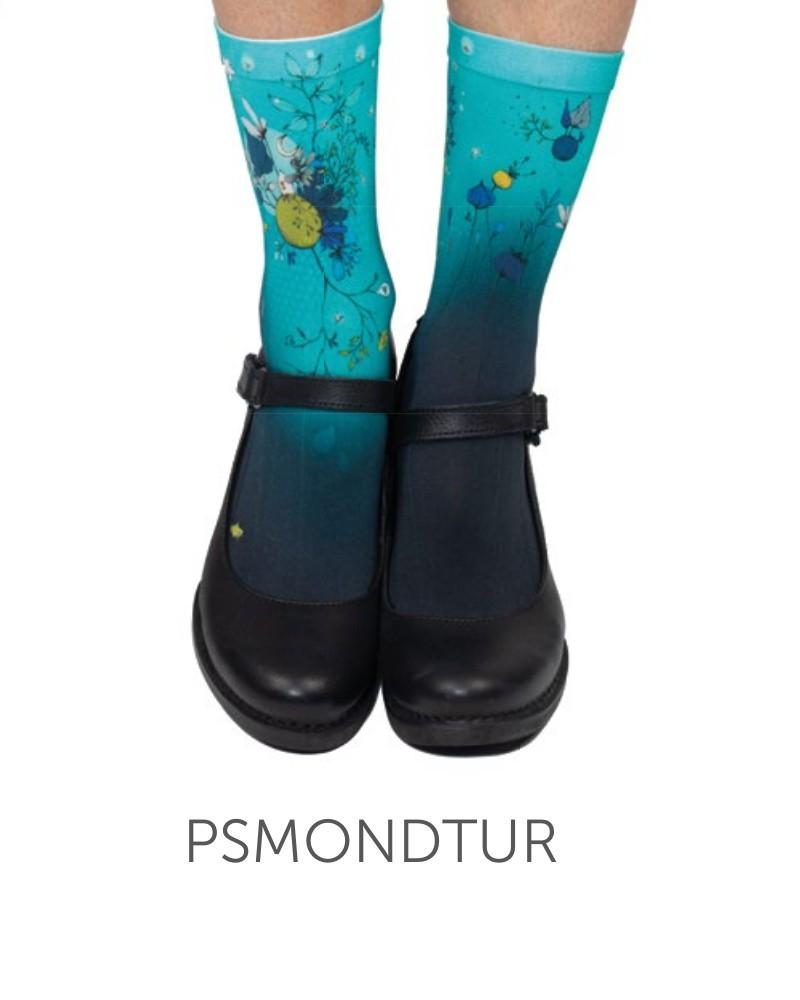 Socquettes fines turquoises imprimés Lili Gambettes Mond