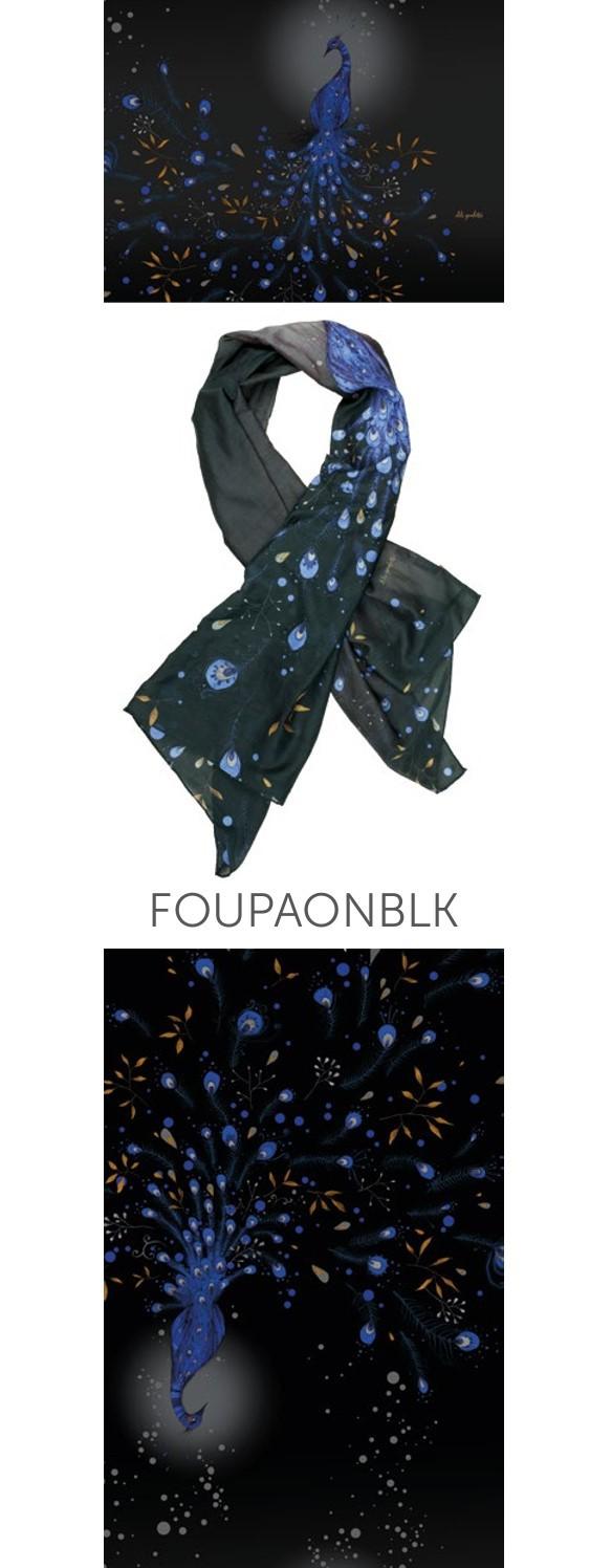 Superbe foulard noir Lili Gambettes Paon bleu