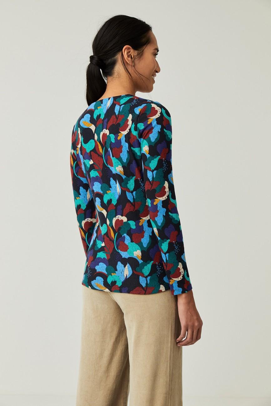 T-shirt col V bleu Surkana