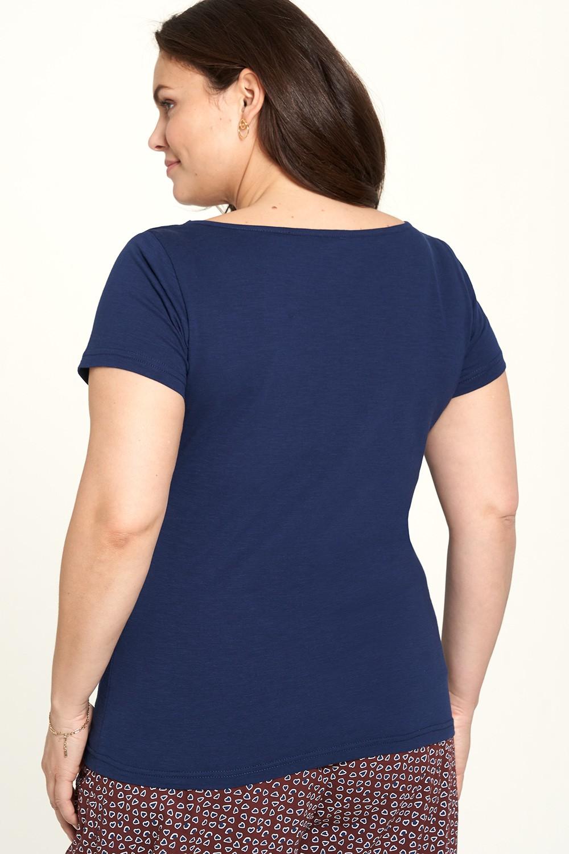 T-shirt marine en jersey flammé Tranquillo Lore
