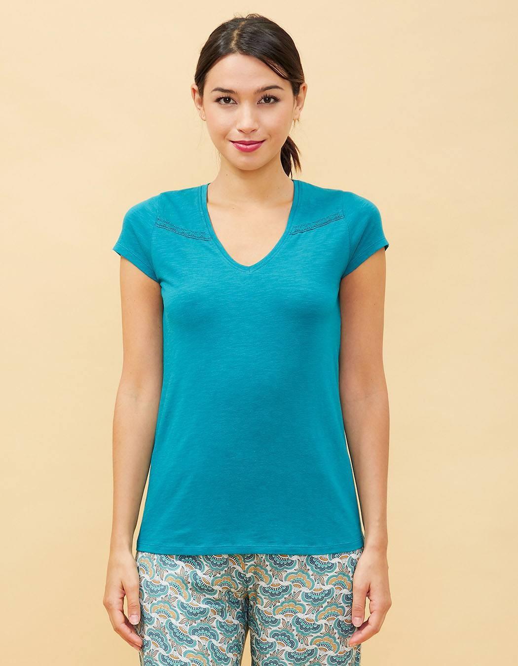 T-shirt uni bleu La Fiancée du Mékong