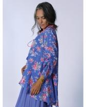Tunique bleue fleurie Rhum Raisin, Lavandou 60
