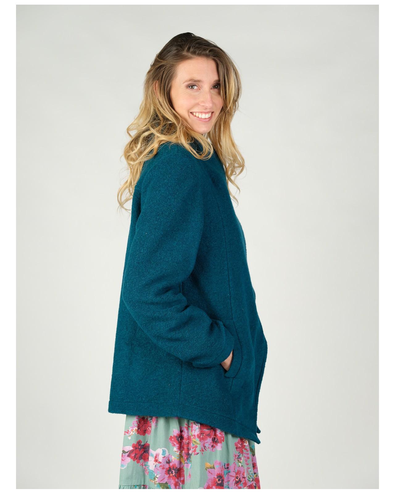Veste en laine Rhum Raisin, couleur bleue